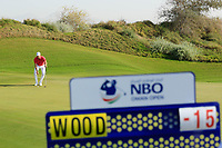 Chris Wood (ENG) in action during the final round of the NBO Open played at Al Mouj Golf, Muscat, Sultanate of Oman. <br /> 18/02/2018.<br /> Picture: Golffile | Phil Inglis<br /> <br /> <br /> All photo usage must carry mandatory copyright credit (&copy; Golffile | Phil Inglis)