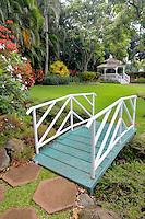 Gardens with bridge and gazebo at Maui Tropical Plantation. Maui. Hawaii
