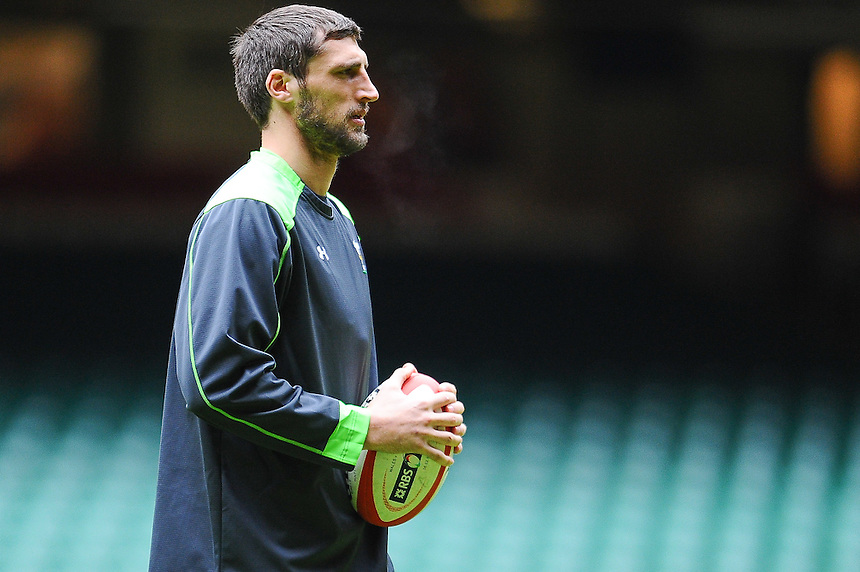 Wales&rsquo; Luke Charteris during todays Wales training session at the millennium stadium<br /> <br /> Photographer Craig Thomas/CameraSport<br /> <br /> Rugby Union - 6 nations - Wales squad training - Thursday 5th Feburary - The Vale Training Complex - Vale of Glamorgan<br /> <br /> &copy; CameraSport - 43 Linden Ave. Countesthorpe. Leicester. England. LE8 5PG - Tel: +44 (0) 116 277 4147 - admin@camerasport.com - www.camerasport.com