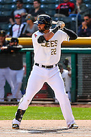 Kaleb Cowart (22) of the Salt Lake Bees at bat against the El Paso Chihuahuas in Pacific Coast League action at Smith's Ballpark on April 24, 2016 in Salt Lake City, Utah. This was Game 2 of a double-header.  Salt Lake defeated El Paso 6-5. (Stephen Smith/Four Seam Images)