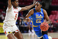 College Park, MD - March 25, 2019: UCLA Bruins guard Kennedy Burke (22) drives to lane against Maryland Terrapins guard Kaila Charles (5) during second round game of NCAAW Tournament between UCLA and Maryland at Xfinity Center in College Park, MD. UCLA advanced to the Sweet 16 defeating Maryland 85-80.(Photo by Phil Peters/Media Images International)