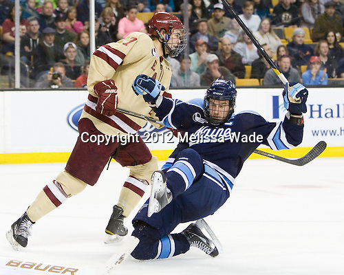 Isaac MacLeod (BC - 7), Brian Flynn (Maine - 10) - The Boston College Eagles defeated the University of Maine Black Bears 4-1 to win the 2012 Hockey East championship on Saturday, March 17, 2012, at TD Garden in Boston, Massachusetts.