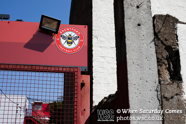 An exterior view of the entrance to the Brook Road stand pictured before Brentford hosted Leeds United in an EFL Championship match at Griffin Park. Formed in 1889, Brentford have played their home games at Griffin Park since 1904, but are moving to a new purpose-built stadium nearby. The home team won this match by 2-0 watched by a crowd of 11,580.