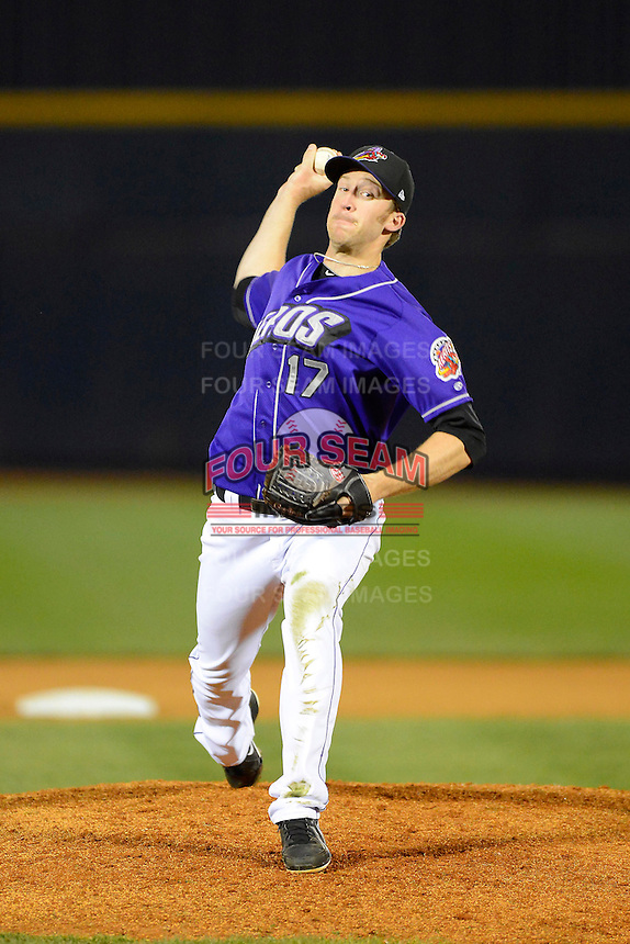 Akron Aeros pitcher Cole Cook #17 during a game against the Trenton Thunder on April 22, 2013 at Canal Park in Akron, Ohio.  Trenton defeated Akron 13-8.  (Mike Janes/Four Seam Images)