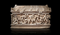 Roman relief sculpted Herakles (Hercules)  sarcophagus, 2nd century AD, Perge, inv 1,11,81-1.3.99-2.3.99.. Antalya Archaeology Museum, Turkey. Against a black background.