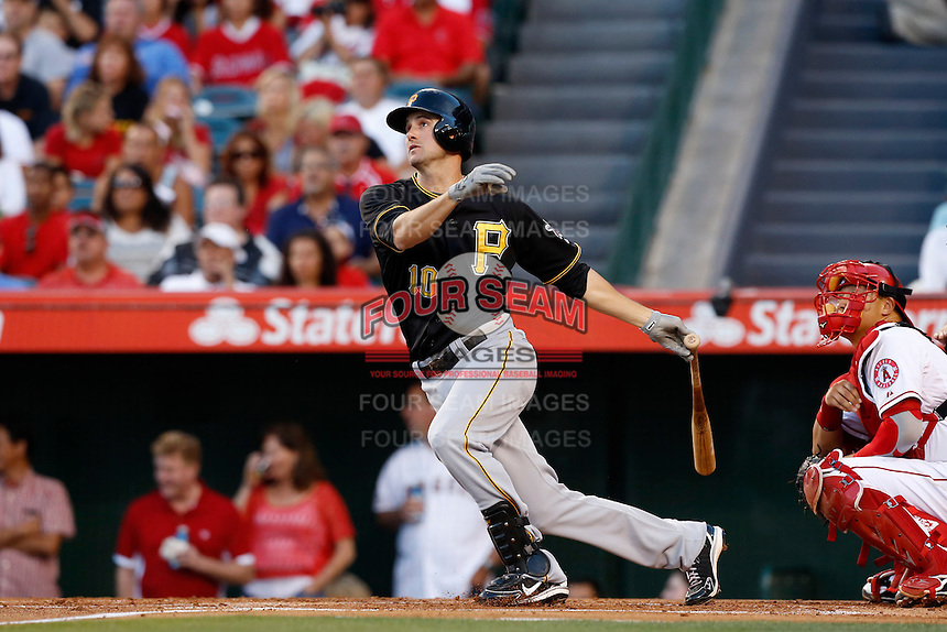 Jordy Mercer #10 of the Pittsburgh Pirates bats against the Los Angeles Angels at Angel Stadium on June 21, 2013 in Anaheim, California. (Larry Goren/Four Seam Images)