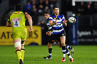 Adam Hastings of Bath Rugby receives the ball. Anglo-Welsh Cup match, between Bath Rugby and Leicester Tigers on November 4, 2016 at the Recreation Ground in Bath, England. Photo by: Patrick Khachfe / Onside Images