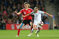Jordan Nobbs (Arsenal) of England Women (right) under pressure from Lisa Marks of Austria Women (left) during the Women's Friendly match between England Women and Austria Women at stadium:mk, Milton Keynes, England on 10 April 2017. Photo by PRiME Media Images / David Horn.