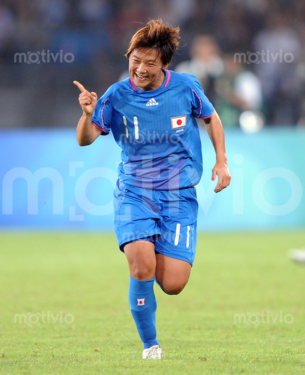 Olympia 2008  Peking  Fussball Halbfinale Frauen 18.08.2008 Japan - USA JUBEL JPN,  Torschuetzin Shinobu Ohno