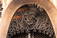 Wrought iron ornate door top, modernista style, Gaudi, Palace Palau Guell. Barcelona, Catalonia, Spain.