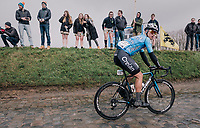 Michael Goolaerts (BEL/Willems Veranda's-Crelan) on the Holleweg<br /> <br /> 102nd Ronde van Vlaanderen 2018 (1.UWT)<br /> Antwerpen - Oudenaarde (BEL): 265km