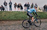 Michael Goolaerts (BEL/Willems Veranda's-Crelan) on the Holleweg<br /> <br /> 102nd Ronde van Vlaanderen 2018 (1.UWT)<br /> Antwerpen - Oudenaarde (BEL): 265km