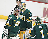 Travis Russell, Joe Fallon, Jeff Hill - The Boston College Eagles completed a shutout sweep of the University of Vermont Catamounts on Saturday, January 21, 2006 by defeating Vermont 3-0 at Conte Forum in Chestnut Hill, MA.