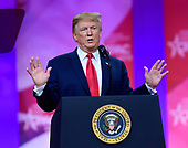 United States President Donald J. Trump speaks at the Conservative Political Action Conference (CPAC) at the Gaylord National Resort and Convention Center in National Harbor, Maryland on Saturday, March 2, 2019.<br /> Credit: Ron Sachs / CNP <br /> (RESTRICTION: NO New York or New Jersey Newspapers or newspapers within a 75 mile radius of New York City)