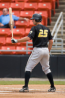 Jeremy Farrell #25 of the West Virginia Power at bat versus the Hickory Crawdads at L.P. Frans Stadium June 21, 2009 in Hickory, North Carolina. (Photo by Brian Westerholt / Four Seam Images)