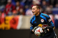 New York Red Bulls goalkeeper Luis Robles (31). The New York Red Bulls and Chivas USA played to a 1-1 tie during a Major League Soccer (MLS) match at Red Bull Arena in Harrison, NJ, on March 30, 2014.