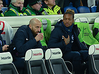 Brighton & Hove Albion's Bruno (left) and Brighton & Hove Albion's Gaetan Bong (right) on the bench <br /> <br /> Photographer David Horton/CameraSport<br /> <br /> The Premier League - Brighton and Hove Albion v Arsenal - Wednesday 26th December 2018 - The Amex Stadium - Brighton<br /> <br /> World Copyright © 2018 CameraSport. All rights reserved. 43 Linden Ave. Countesthorpe. Leicester. England. LE8 5PG - Tel: +44 (0) 116 277 4147 - admin@camerasport.com - www.camerasport.com