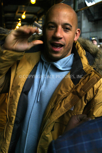 WWW.ACEPIXS.COM . . . . .  ....NEW YORK, MARCH 2, 2005....Vin Diesel signs autographs before an appearance on The Late Show with David Letterman.....Please byline: Ian Wingfield - ACE PICTURES..... *** ***..Ace Pictures, Inc:  ..Philip Vaughan (646) 769-0430..e-mail: info@acepixs.com..web: http://www.acepixs.com