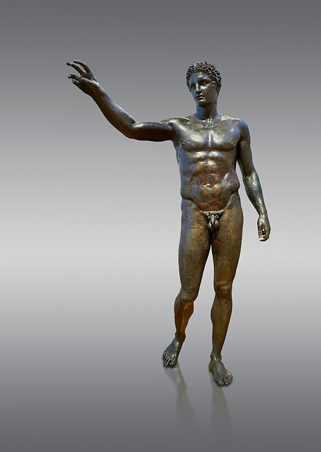 Gronze Greek classical statue of a youth by sculptor Euphranor. from the Antikythera shipwreck, Circa 340-330 BC, Athens National Archaeological Museum. Cat No X13396. Against grey.<br /> <br /> The statue has been thought to depict Perseus who would have been holding the head of Medusa, but is more probably a depiction of Paris who would have been holding the 'apple of strife', ready to award it to the most beautiful goddess, Aphrodite. Probably sculpted by Sikyonian sculptor Euphranor.