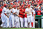 12 April 2012: Washington Nationals third baseman Ryan Zimmerman smiles after sliding home with the game winning run in the 10th inning against the Cincinnati Reds at Nationals Park in Washington, DC. The Nationals defeated the Reds 3-2 in 10 innings to take the first game of their 4-game series. Mandatory Credit: Ed Wolfstein Photo