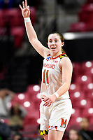 College Park, MD - March 23, 2019: Maryland Terrapins guard Taylor Mikesell (11) connects for a three point basket during first round action of game between Radford and Maryland at Xfinity Center in College Park, MD. Maryland defeated Radford 73-51. (Photo by Phil Peters/Media Images International)