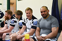 Jordan Crane and John Afoa of Bristol Bears look on in the changing room after the match. Gallagher Premiership match, between Leicester Tigers and Bristol Bears on April 27, 2019 at Welford Road in Leicester, England. Photo by: Patrick Khachfe / JMP
