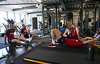 Pictured L-R: Stephen Kingsley, Angel Rangel, Oliver McBurnie and Federico Fernandez. Wednesday 05 July 2017<br />Re: Swansea City FC training at Fairwood training ground, UK