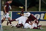 Hearts players jump on top of scorer Mariuz Zaliukas