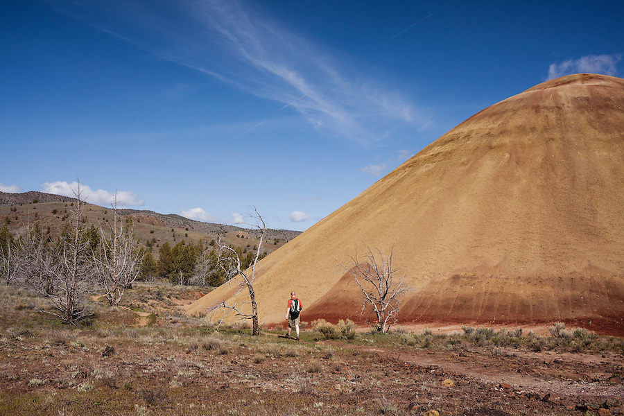 A man in his 30's wearing sunglasses hikes along a yellowish hill in the Painted Hills section of the John Day Fossil Beds National Monument in Wheeler County, Oregon.