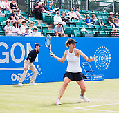 June 14th 2017, Nottingham,  England; WTA Aegon Nottingham Open Tennis Tournament day 5;  Tsvetana Pironkova of of Bulgaria prepares to hit a forehand as she heads towards victory over Kurumi Nara of Japan