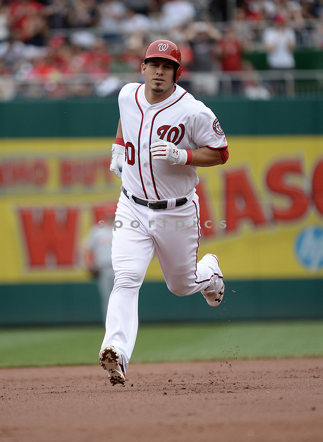 Washington Nationals Wilson Ramos (40) during a game against the Cincinnati Reds on July 3, 2016 at Nationals Park in Washington DC. The Nationals beat the Reds 12-1.