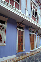 Restored Spanish colonial houses on Calle Numo Pompillo in the Las Penas restored historic district on Cerro Santa Ana in Guayaquil, Ecuador