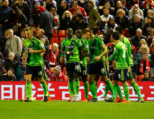 25.10.2015. Anfield, Liverpool, England. Barclays Premier League. Liverpool versus Southampton. Southampton striker Sadio Mané (number 10) is congratulated by his team mates after scoring his team's first goal.