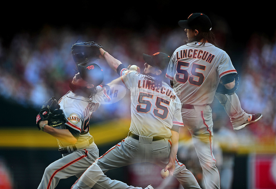 Apr. 6, 2012; Phoenix, AZ, USA; (Editors note: Multiple exposure image) San Francisco Giants pitcher Tim Lincecum throws in the second inning against the Arizona Diamondbacks during opening day at Chase Field.  Mandatory Credit: Mark J. Rebilas-