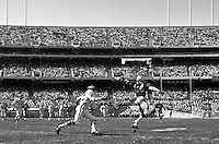 Oakland Raider's first game at the new soldout Oakland-Alameda County Coliseum, Sept 18,1966..Raider reciever Art Powell grabs a one handed pass against the Kansas City Chiefs. .photo @ 1966 by Ron Riesterer/Oakland Tribune