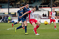 30th November 2019; Dens Park, Dundee, Scotland; Scottish Championship Football, Dundee Football Club versus Queen of the South; Darren Brownlie of Queen of the South and Josh Todd of Dundee  - Editorial Use
