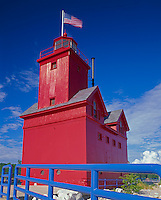 Allegan County, MI  <br /> Holland Harbor lighthouse on channel between Lake Michigan and Lake Macatawa