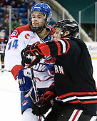 Joseph Pendenza (Lowell - 14), Justin Daniels (Northeastern - 11) - The visiting Northeastern University Huskies defeated the University of Massachusetts-Lowell River Hawks 3-2 with 14 seconds remaining in overtime on Friday, February 11, 2011, at Tsongas Arena in Lowelll, Massachusetts.