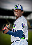 13 June 2018: Vermont Lake Monsters pitcher Wandisson Charles poses for a portrait on Photo Day at Centennial Field in Burlington, Vermont. The Lake Monsters are the Single-A minor league affiliate of the Oakland Athletics, and play a short season in the NY Penn League Stedler Division. Mandatory Credit: Ed Wolfstein Photo *** RAW (NEF) Image File Available ***