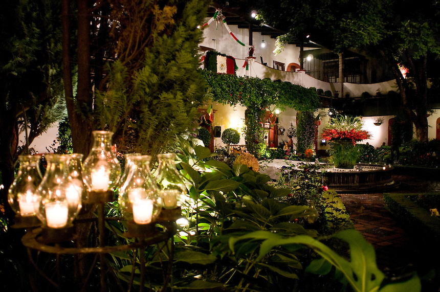 The independence day festivities at the San Angel Inn, an old hacienda in the San Angel area of Mexico City, has been a well known restaurant for many years. Mexico September 15, 2008