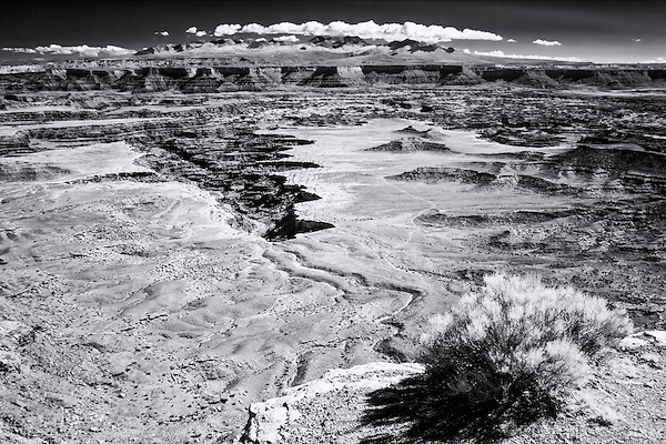 Black and white infrared image of Bucks Canyon Overlook in Canyonlands National Park
