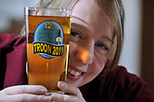 Ayrshire Rael Ale festival - at Troon Concert Hall - Staffing Officer Marie Grant checks out the clarity of a pint – picture by Donald MacLeod – 07.10.11 – clanmacleod@btinternet.com 07702 319 738 donald-macleod.com