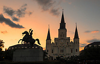 We capture this Jackson Square image after the sun had set with this orange glow over St. Louis Catherdral with Andrew Jackson on his horse. Louisiana was declared a National Historic Landmark in 1960, for its central role in the city's history, and as the site where in 1803 Louisiana was made United States territory pursuant to the Louisiana Purchase.In 2012. The American Planning Association designated Jackson Square as one of America's Great Public Spaces and it big tourist draw for the city.  It takes on a festive feel as all around this area you can hear street music, have your palm read, buy local art or just enjoy one of the many restaurants near by.