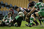 Troy Nathan loses the ball in the process of going for the tryline during the Air New Zealand rugby game between Counties Manukau Steelers & Manawatu, played at Mt Smart Stadium on the 22nd of September 2006. Counties Manukau 25 - Manawatu 25.
