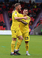 Fleetwood Town's James Wallace (left) celebrates scoring his side's third goal with Ross Wallace<br /> <br /> Photographer David Shipman/CameraSport<br /> <br /> The EFL Sky Bet League One - Doncaster Rovers v Fleetwood Town - Saturday 6th October 2018 - Keepmoat Stadium - Doncaster<br /> <br /> World Copyright &copy; 2018 CameraSport. All rights reserved. 43 Linden Ave. Countesthorpe. Leicester. England. LE8 5PG - Tel: +44 (0) 116 277 4147 - admin@camerasport.com - www.camerasport.com