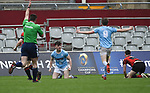 Ben Moloney of Garryowen scores a try against Ennis during their U-18 Munster Club Final at Thomond Park. Photograph by John Kelly.