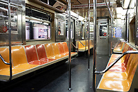 NEW YORK, NY - MARCH 19: A empty subway train is seen in New York City on March 19, 2020. The ridership declined 90 percent compared to the same date last year due to the Coronavirus. The World Health Organization declared a global pandemic as the coronavirus rapidly spreads across the world. (Photo by Joana Toro/ VIEWpress via Getty Images)
