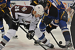 Colorado Avalanche center Paul Stastny (26) and St. Louis Blues center Patrik Berglund (21) during a face-off in the second period of a game between the Colorado Avalanche and the St. Louis Blues on Tuesday April 23, 2013 at the Scottrade Center in downtown St. Louis.