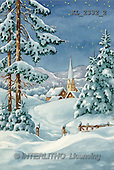 Interlitho, CHRISTMAS SANTA, SNOWMAN, nostalgic, paintings, church(KL2332/2,#X#)