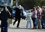 St Johnstone v Celtic.....12.04.11.Celtic manager Neil Lennon steps off the team bus at McDiarmid Park..Picture by Graeme Hart..Copyright Perthshire Picture Agency.Tel: 01738 623350  Mobile: 07990 594431